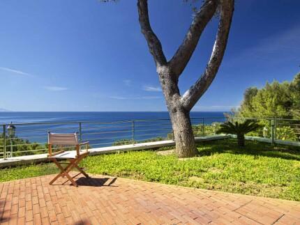 Villa Richter Aurelia, Elba Island outdoor area with deck chairs seaview